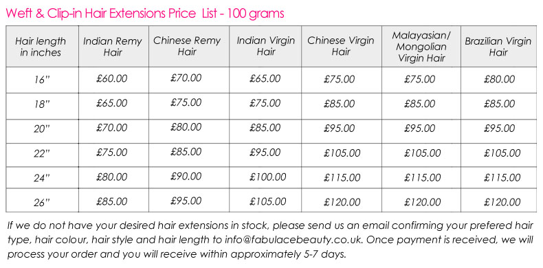 Hair Extensions Price Lists Triple Weft Hair Extensions